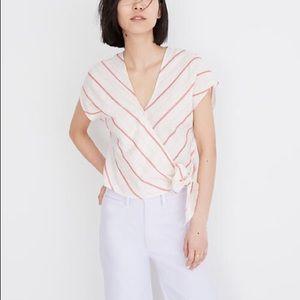Madewell • Sash-tie Wrap Top in Montpellier Stripe